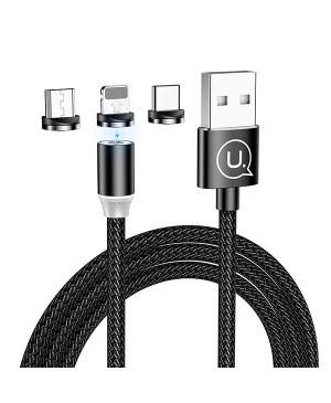 Magnetický kábel USAMS 3v1,2A - lightning/USB-C/microUSB čierny