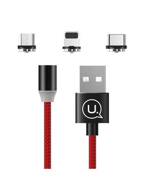 Magnetický kábel USAMS 3v1 - lightning/USB-C/microUSB červený