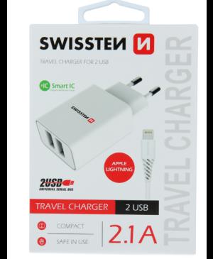 Sieťový adaptér Swissten Smart IC 2x USB 2.1 A + dátový kábel USB/lightning 1,2 m biely
