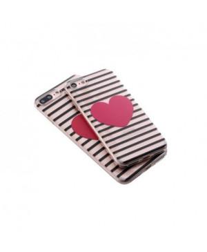 Valentínske silikónové puzdro Heartbeat 2 pre Apple iPhone 7/8 červené srdiečko
