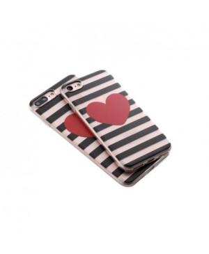 Valentínske silikónové puzdro Heartbeat 1 pre Apple iPhone 7/8 červené srdiečko
