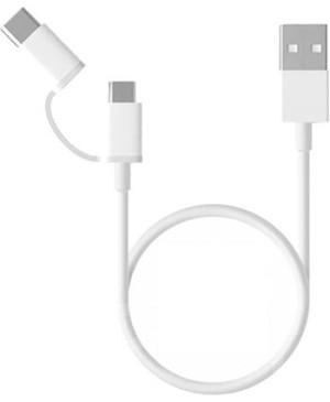 Xiaomi SJV4083TY Original Datový Kabel MicroUSB/Type-C (30CM) White (EU Blister)