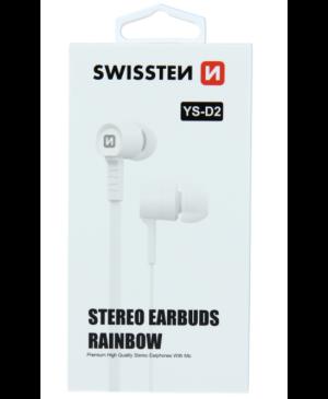Slúchadlá Swissten Earbuds Rainbow YS-D2 biele