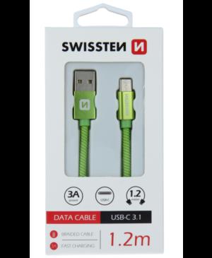 Kábel Swissten USB/USB-C 3.0A 1,2 m zelený